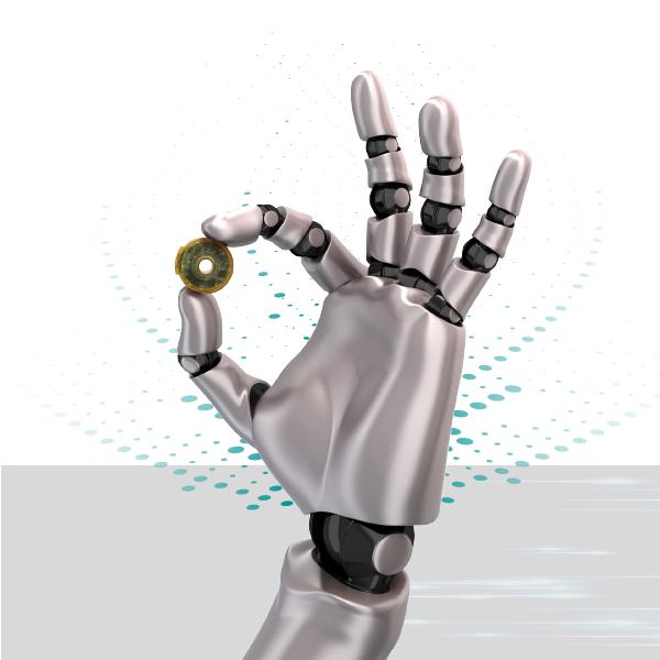robotic hand holding a rotary encoder